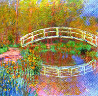 Салфетка для декупажа Мост на озере, 33см х 33см
