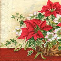 Салфетка для декупажа Рождественский цветок, 33см х 33см