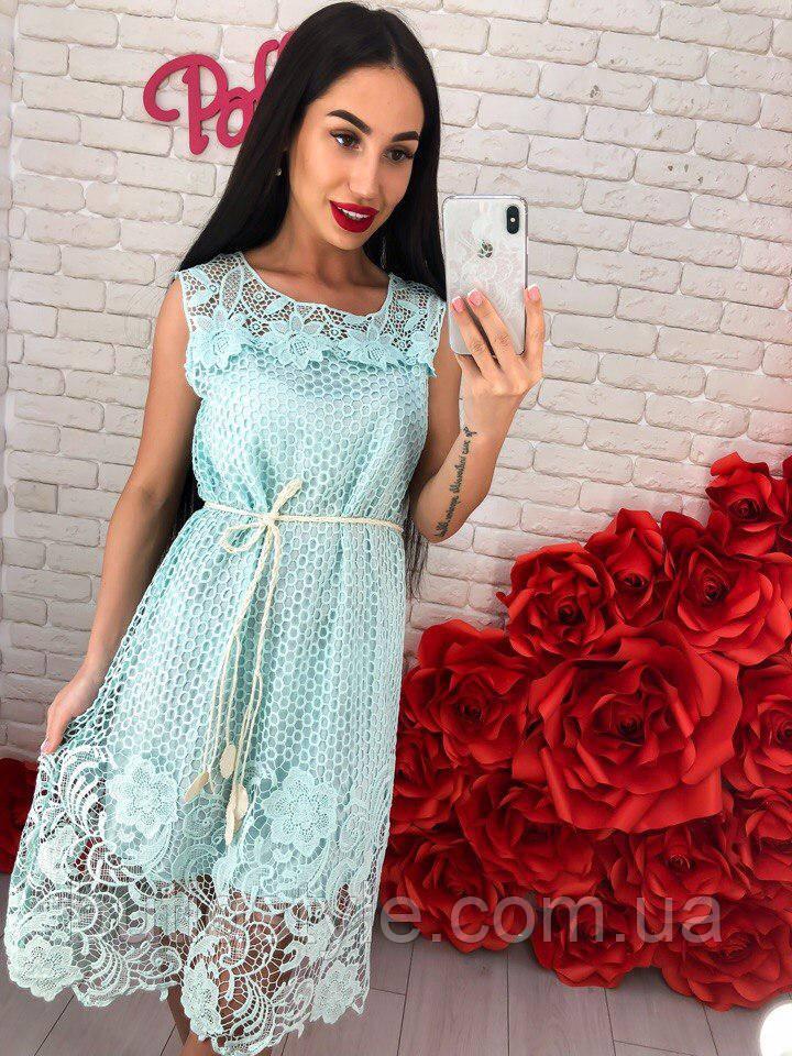 Красивое женское платье гипюр с поясом черное, белое, голубое, мята