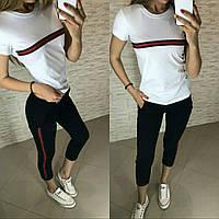 Костюм стильный с футболкой, белый+черный, фото 1
