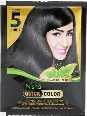 Quick color 5 минут. Черная краска для волос на основе хны с индийскими травами, 10 г