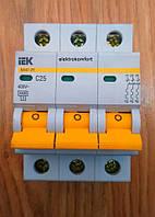 Автоматический выключатель ВА 47-29 3 полюса 25 А кривая С