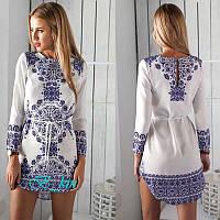 Платье летнее с ярким этническим узором и поясом
