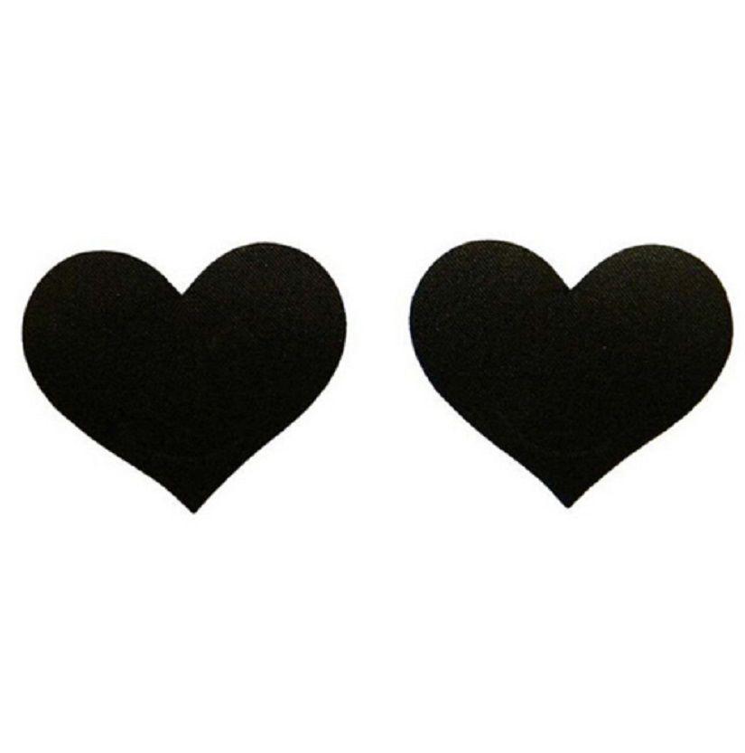 Наклейки-сердечка на грудь черные - размер сердечка 6*5см