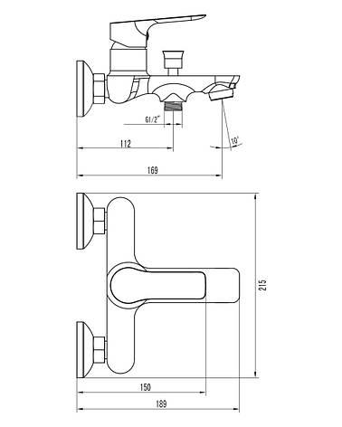 KUCERA смеситель для ванны, хром 35мм, фото 2