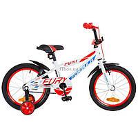 """Детский велосипед Formula 16"""" FURY 14G рама-8,5"""" St бело-синий с оранжевым (OPS-FRK-16-051)"""