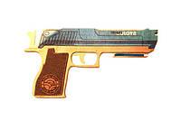Деревянная игрушка пистолет Solid Design GummyGun Шибай голова Синий