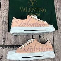 Женские кеды Valentino D3273 розовые, фото 1