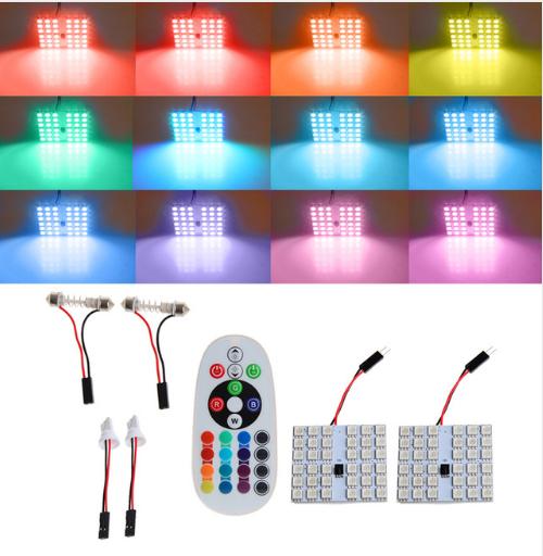 Светодиодная подсветка салона автомобиля с пультом ДУ RGB 36smd 2x5050 T10