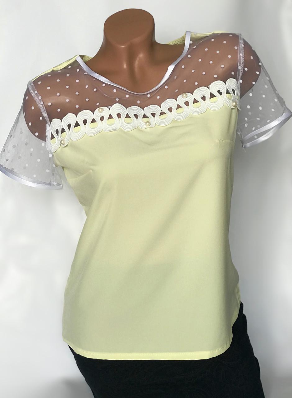 Блуза с рукавами из фатина цвет желтый Бл-437
