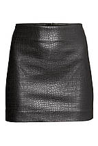 Черная короткая юбка под кожу H&M, фото 2