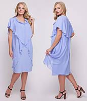 Платье больших размеров женское летнее трикотаж маслос шифоном