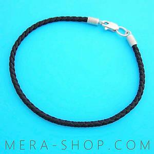 Чёрный шёлковый браслет с серебряным замком (⌀2.5 мм, все размеры)