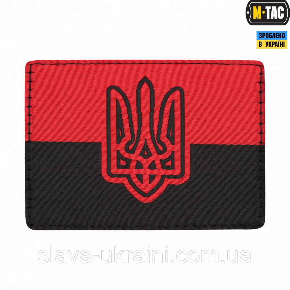 Нашивка M-Tac прапор червоно-чорний з гербом ОУН (жаккард)