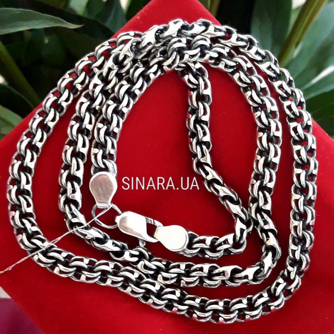 Серебряная мужская цепь Обратный Бисмарк - Мужская цепочка серебро