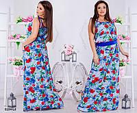 e3a9306297a078c Сарафан платье женское длинное на бретельках штапель принт цветы р54-60