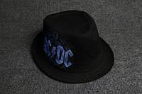 Панама шляпа черная с принтом AC|DC