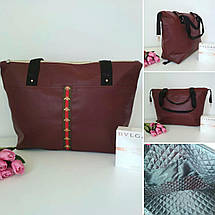 Модная женская сумка бордовая с контрастными ручками, фото 3
