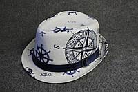 Панама шляпа белая с принтом
