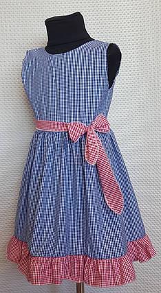 Летнее платье для девочки Ева р.104-122 синий+ красный, фото 2