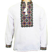 Мужская вышиванка на белом домотканом полотне Руслан