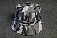 Панама шляпа синяя с принтом камуфляж