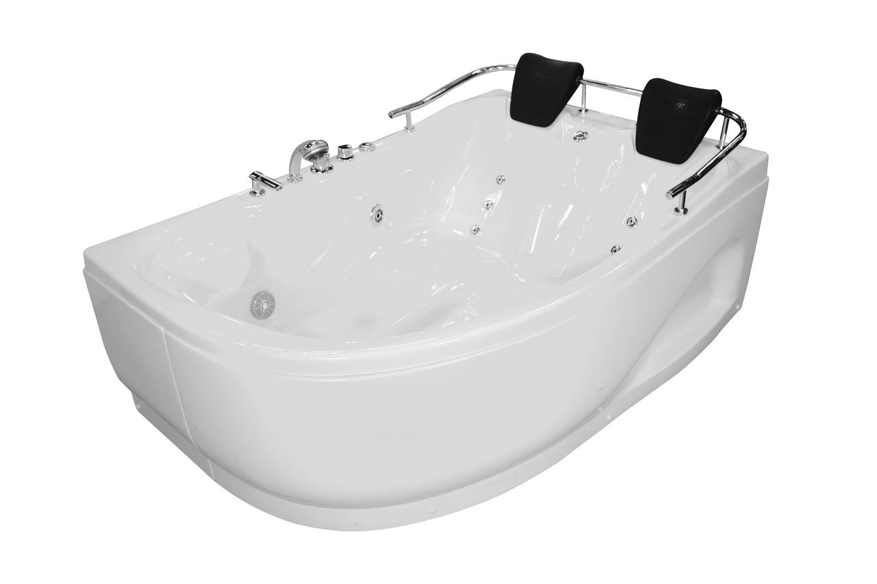 Ванна угловая с гидромассажем и пневмокнопкой 1800*1240*660 мм, правая
