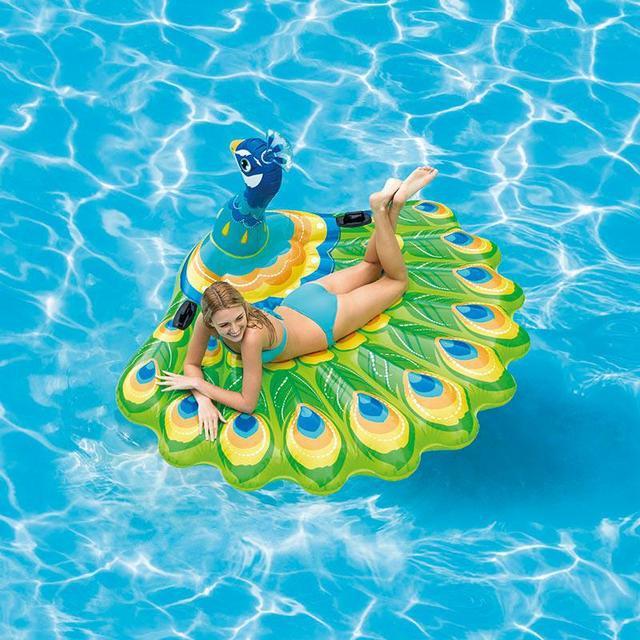 Надувной плот для плавания Intex 57250 «Павлин»,142х137х97 см