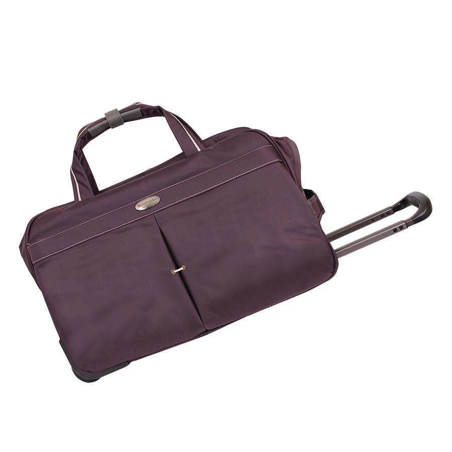Фиолетовая дорожная сумка на двух колесах