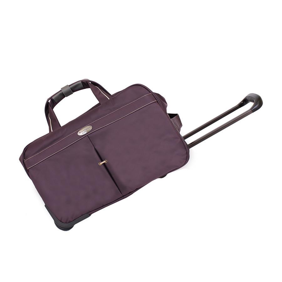 Фиолетовая сумка на колесах с ручками