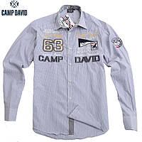 Мужская рубашка в тонкую серую полоску Camp David ( Кэмп Дэвид )