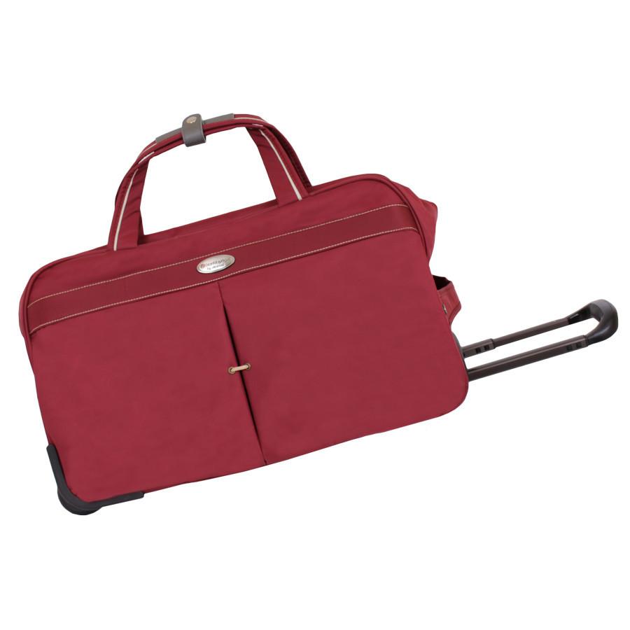 Дорожная красная сумка на двух колесах