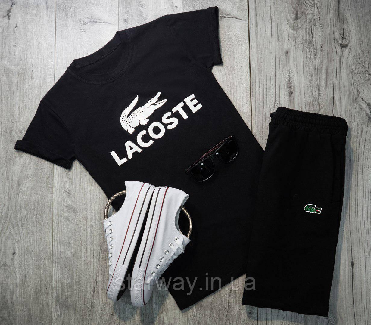 Футболка чёрная Lacoste logo | Стильная