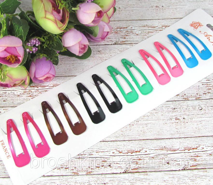 Шпильки для волосся тік-так кольорові 5 см 12 шт/уп