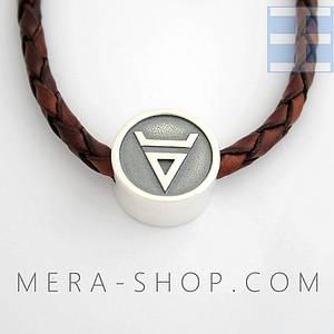 Символ Велеса бусина-оберег из серебра 925 пробы