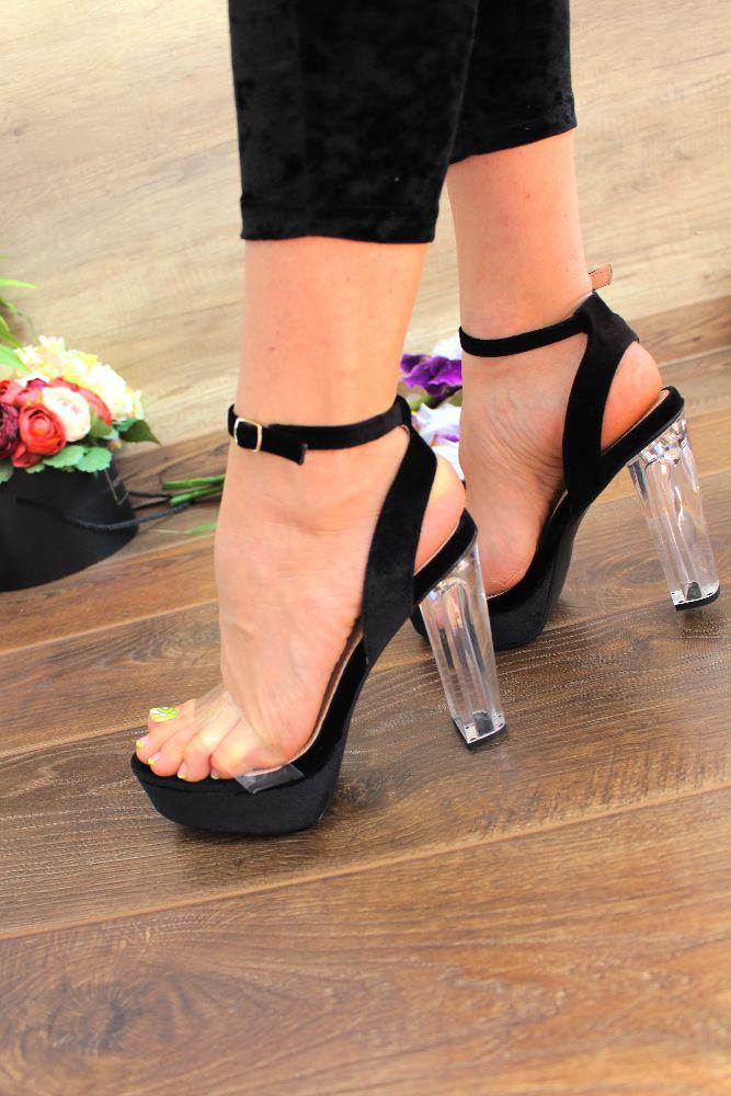 """Босоножки """"Glass Heel""""(велюр, каблук,черные)"""
