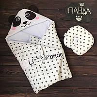 """Осенний конверт-одеяло для новорожденных """"Панда-лапки"""" (подушка в подарок), фото 1"""