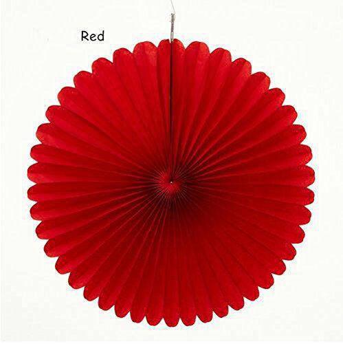 Веер  - розетка бумажный из тишью 20 см. красный