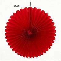 Веер  - розетка бумажный из тишью 30 см. красный, фото 1