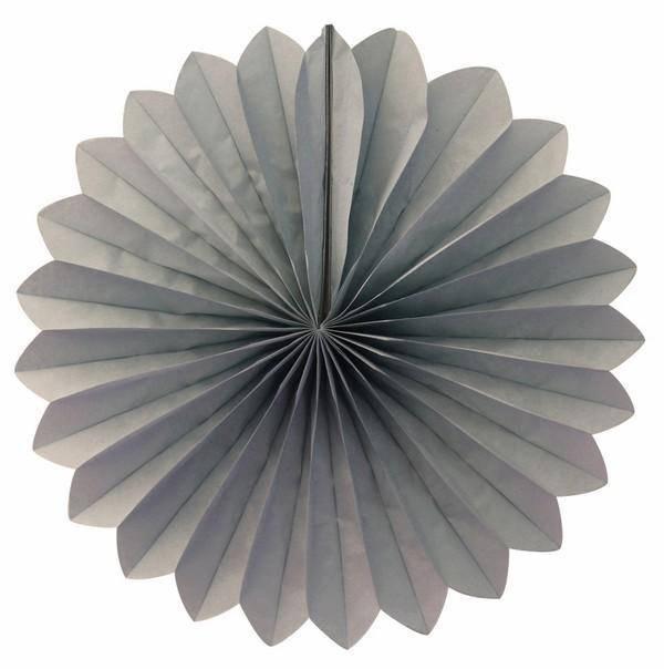 Веер  - розетка бумажный из тишью 30 см. серый