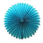 Веер  - розетка бумажный из тишью 30 см. синий