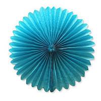Веер  - розетка бумажный из тишью 30 см. синий, фото 1