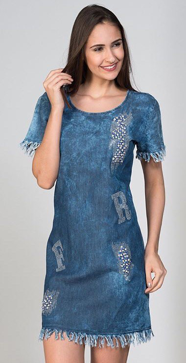 4a2511400b8 Платье женское джинсовое камнями Турция БОТАЛ - купить по лучшей ...