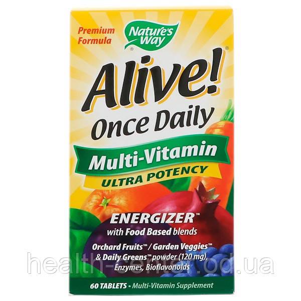 Натуральные витамины Alive! Энергия (одна в день) 60 таб Nature's Way (USA)
