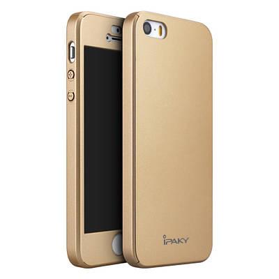 Чехол накладка для iPhone 5/5s/se iPaky Mattle TPU защита 360 со стеклом,золотой