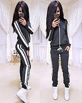 Стильный спортивный костюм, кофта на змейке и штаны, размеры от 42 до 52 Турция, фото 3