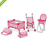 Игровой кукольный набор MELOGO 4в1 с коляской,сумкой,стульчиком и манежем 9001