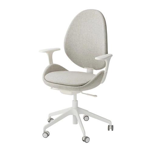Вращающееся легкое кресло IKEA HATTEFJÄLL с подлокотниками Gunnared бежевое белое 492.521.19