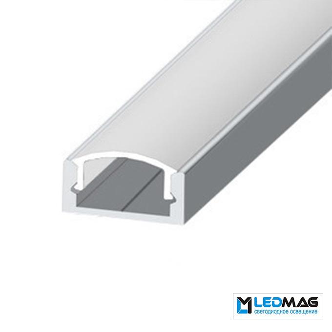 Комплект профиль+крышка для LED ленты накладной LP-7 ЭКО не анодированный