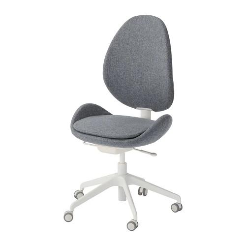 Вращающееся легкое кресло IKEA HATTEFJÄLL Gunnared серое белое 103.413.34